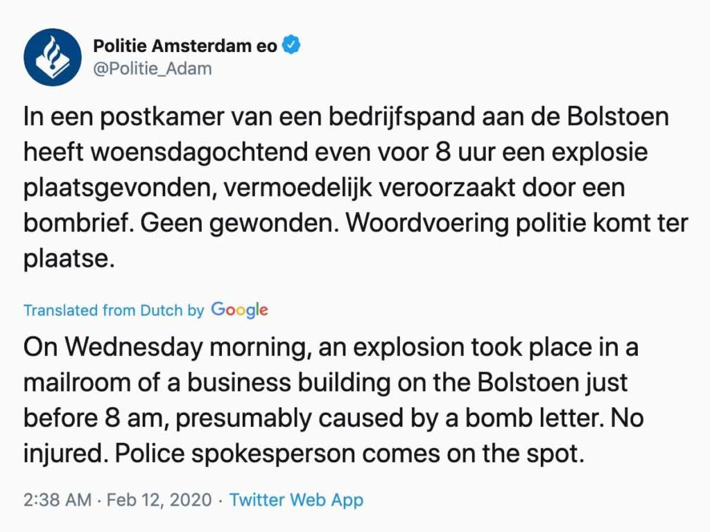 Letter Bombs Explode Netherlands Police Tweet 2020 Feb.