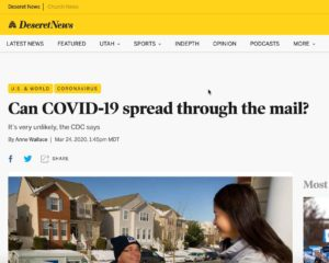 COVID-19 Mail Media Coverage: DeseretNews, Salt Lake City, UT - 2020-03-24.