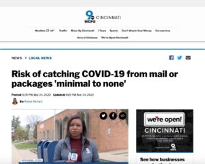 COVID-19 Mail Media Coverage: WCPO, Cincinnati, OH - 2020-03-24.