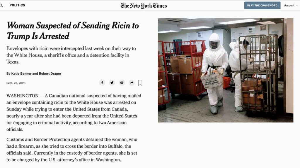 Mail & Ricin: New York Times.