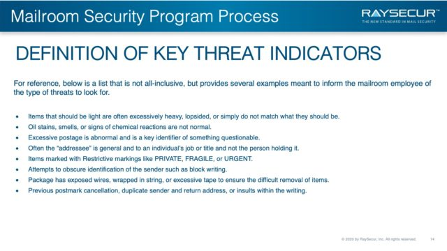 Mail Security Risk Assessment SOP Planning 14 - Key Threat Indicators.