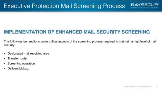 Mail Security Risk Assessment SOP Planning 18 - Exec Protection Mail Screening Implementation.