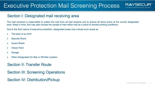 Mail Security Risk Assessment SOP Planning 19 - Exec Protection Mail Receiving Area.