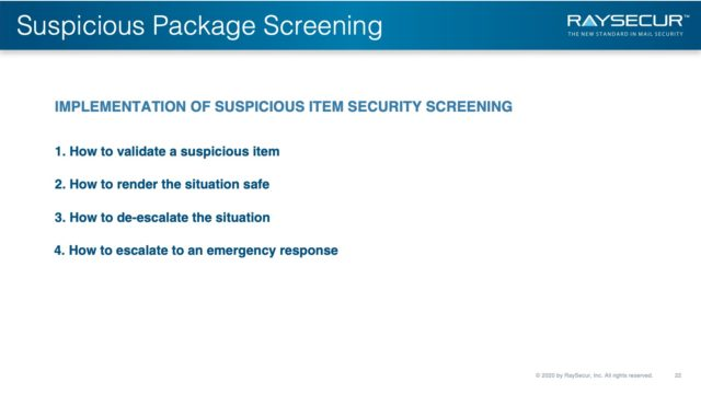 Mail Security Risk Assessment SOP Planning 22 - Suspicious Package Screening Implementation.