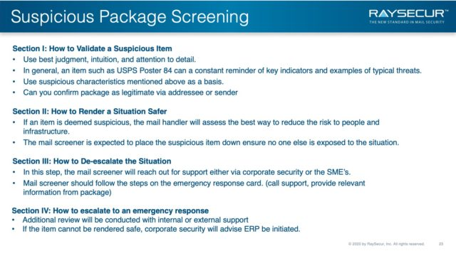 Mail Security Risk Assessment SOP Planning 23 - Suspicious Package Validation Safety.