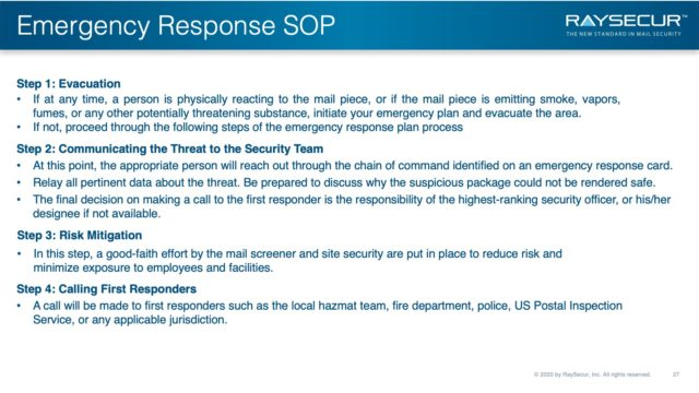 Mail Security Risk Assessment SOP Planning 27 - Mail Security ERP Steps.