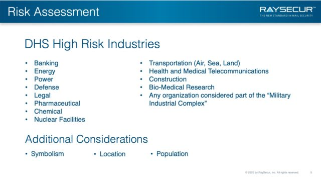 Mail Security Risk Assessment SOP Planning 5 - DHS High Risk Industries Additional.