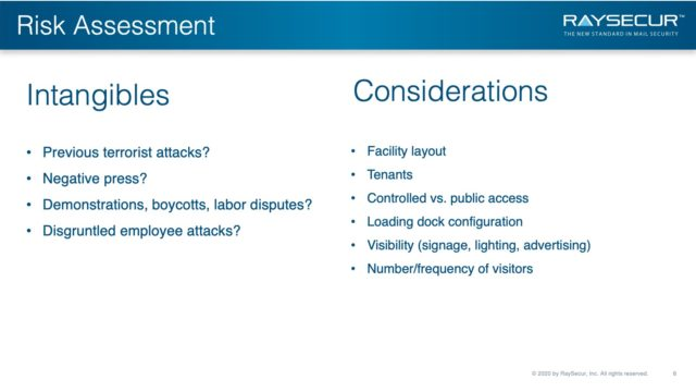 Mail Security Risk Assessment SOP Planning 6 - DHS High Risk Industries Intangibles.