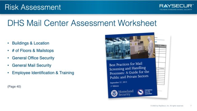 Mail Security Risk Assessment SOP Planning 7 - DHS Assessment Worksheet.