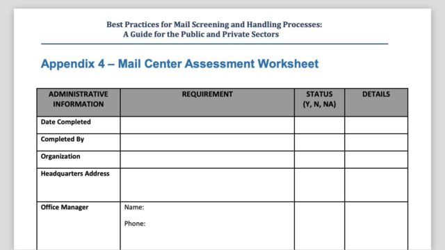 Mail Security Risk Assessment SOP Planning 7 - DHS Assessment Worksheet Preview.