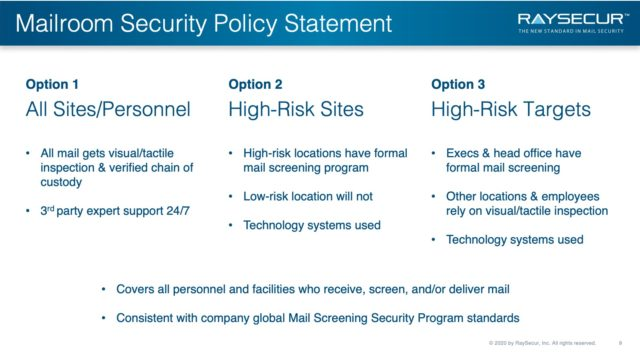Mail Security Risk Assessment SOP Planning 9 - Mailroom Security Policy Statement Options.