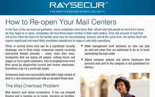 RaySecur: Reopen Mail Centers.