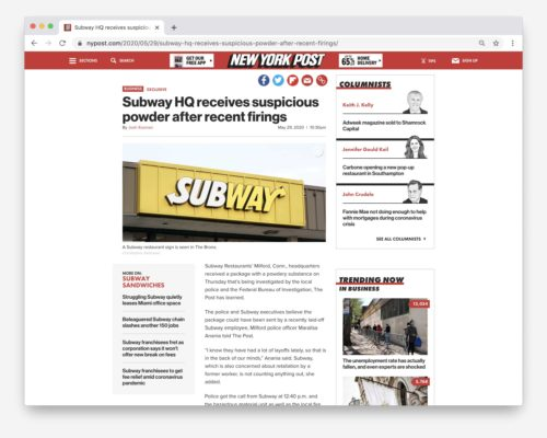 Subway HQ Suspicious Powder, NY Post.